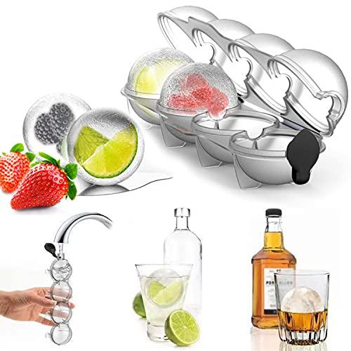 Olywee Juego de moldes para cubitos de hielo con 4 agujeros, para cócteles, bourbon, zumo, bebidas de verano
