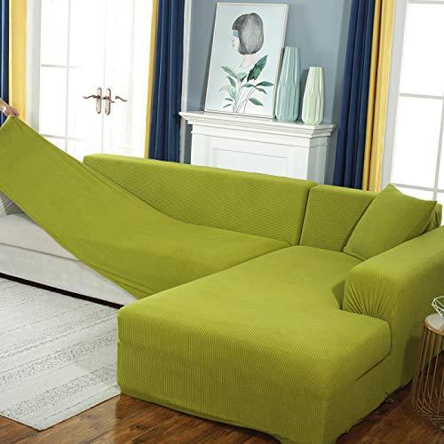 NOBCE Impresión Funda de sofá Fundas elásticas para sofá Fundas de sofá para Sala de Estar Esquina sofá Toalla Funda de sofá Muebles Funda Verde