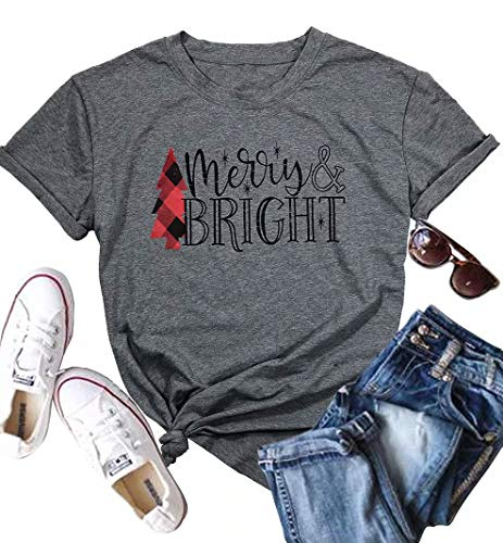 JINTING Short Sleeve Christmas Shirts for Women Merry and Bright Shirt Letter Print Christmas Graphic Tee Shirts Tops Grey