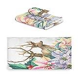 TropicalLife iRoad Juego de toallas de algodón 3 piezas de pintura de ciervos de animales de flores altamente absorbentes, toallas de mano para baño y cocina