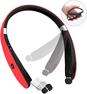 Bluetooth Headphones, Bluetooth Headset Foldable Neckband Wireless Headset with Retractable Earbuds, Bluetooth V4.1, 16 Hours Playtime, Sports Sweatproof Noise Cancelling Earphones with Mic (Red)