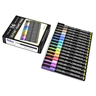 16 Glitter Pens Pigment Based Assorted Colors Marker Set 0.7mm Extra Fine Tip for Bullet Journal, Photo Albums, Card Stock, Canvas, Scrapbooking, Rock Painting, Most Surfaces. Non Toxic, Waterbased