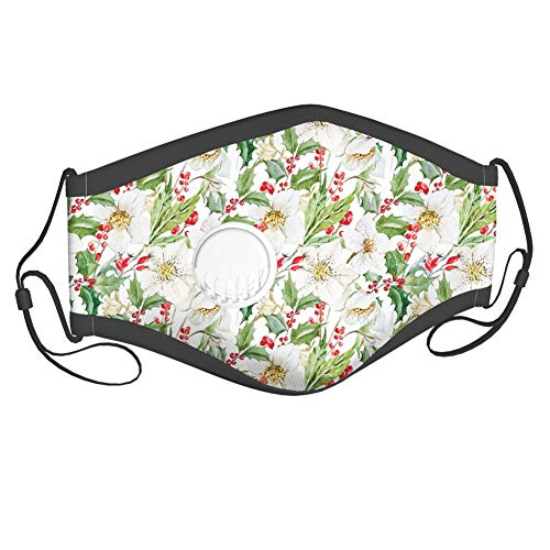 Christmas Themed Floral Poinsettia Winter Inspirations Berries Leaf,Dust Washable Reusable Filter and Mouth Warm Windproof Cotton Face,2 filters adults
