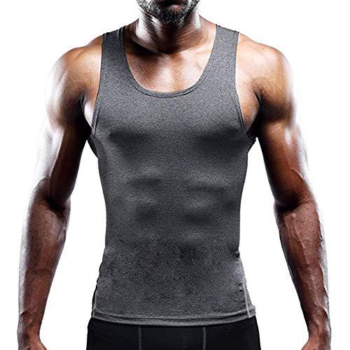 Herren Tank Top Ärmellos Bodybuilding Shirt Sommer Cool Muskelshirt Sport Regular Fit Unterhemd Achselshirt Fitness Tankshirt Rundhals Figur formend Weste L