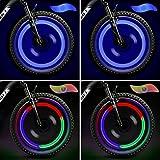 TAGVO 4pcs luz de radios de Bicicleta (rojo+verde+azul+multicolor) con caja delicada,luces de radios de rueda de fácil instalación resistentes al agua,lámpara LED de neón para llantas,3 modos de flash