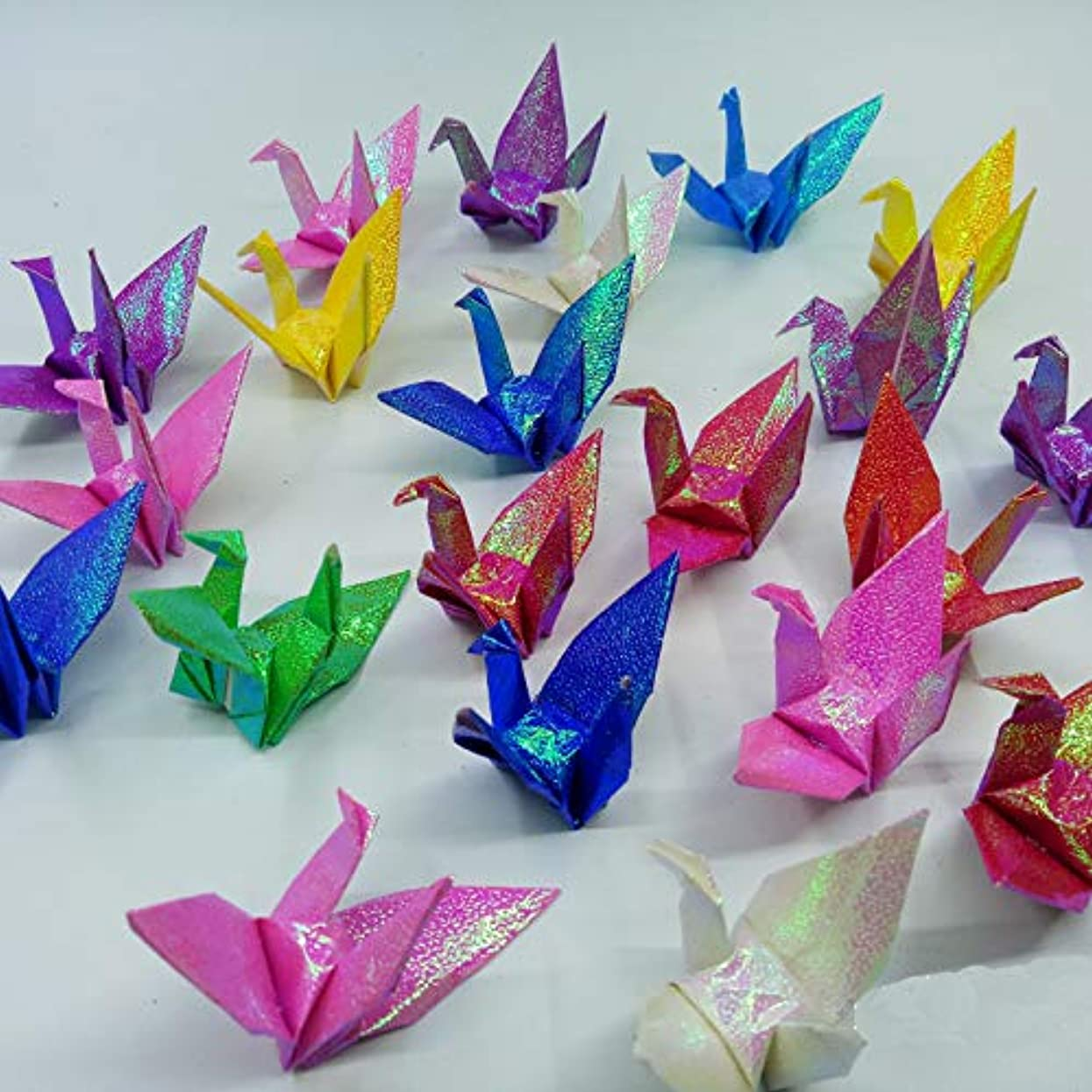Morndew 100 PCS Glitter Origami Paper Cranes Mixed Colors, Folded DIY Paper Cranes for Baby Shower Wedding Party Birthday Party Children Party Backdrop Home Decoration i51086773124112