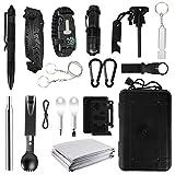 MojiDecor Survival Kits 16 in 1, Notfall-Überlebenskits mit Militär Messer, Survival Armband, Taschenlampe, Whistle, Rettungsdecken, Survival Ausrüstung Set für Camping, Urlaub, Jagd, Wandern