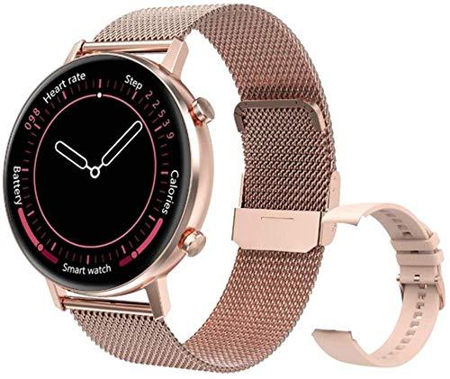 TYUI Health Tracker IP67 - Reloj inteligente impermeable para hombres y mujeres, monitor de ritmo cardíaco, compatible con teléfonos Android e iOS, color dorado