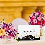 Partycards Marque Place pour Mariage, Baptême, Anniversaire, Noel | Porte Nom de Table en Papier - 50 Cartes Porte Prénom, A7 (Modèle :Vagues,Or Noir) #1