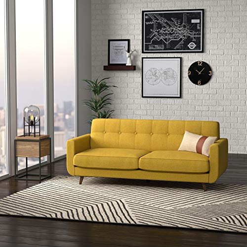 "Amazon Brand – Rivet Sloane Mid-Century Modern Sofa with Tufted Back, 79.9""W, Yellow"