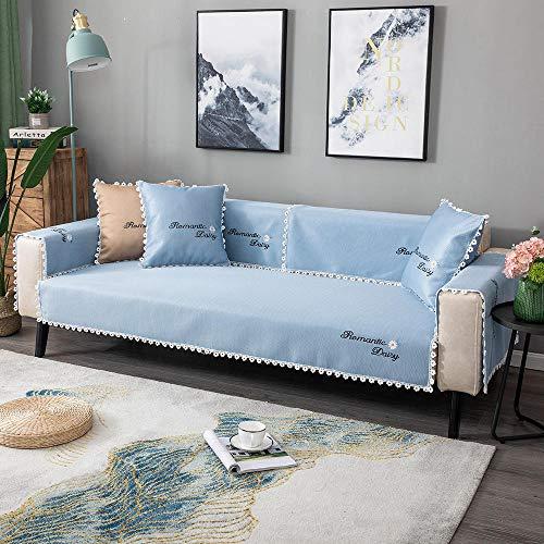 Homeen Fundas de sofá cama, funda de sofá de dormitorio para niña, funda protectora de sofá de verano, funda universal para 2/3/4 plazas, sofá de esquina, sofá en forma de L, azul (90 x 240 cm)