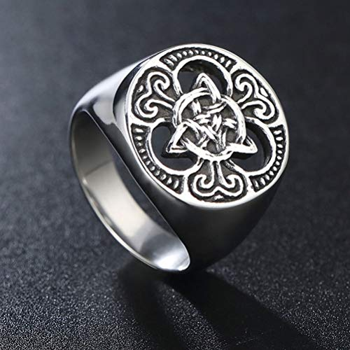 Feinny Stainless Steel Vintage Ring, Norse Viking Triquetra Celtic Knot Rune Rings Amulet Jewelry, Boyfriend Gift,12