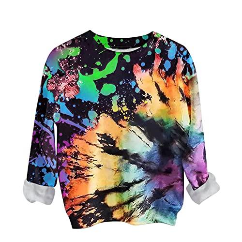 PANGF Sudadera para mujer Tie-dye para otoño y manga larga, estilo túnica de gran tamaño, estilo informal...