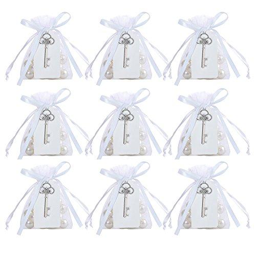 Awtlife - Apribottiglie per chiavi, stile rustico, vintage, con etichetta per carta e sacchetto trasparente per bomboniere, 50 pezzi