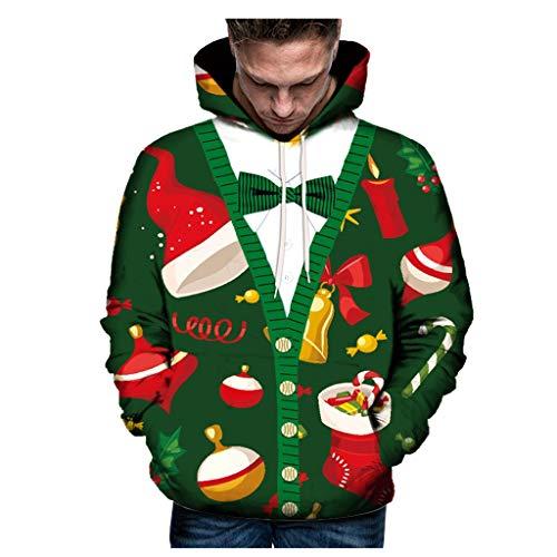 KPILP Weihnachtspullover Herren Damen Kapuzenpullover Sweatshirt 3D Print Sweatjacke Hoodie Langarm Tops Jumper mit Kapuze Christmas Oberteil