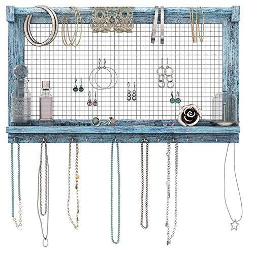 Cómoda Caja de Almacenamiento de joyería campestre, Caja de Almacenamiento de joyería montada en la Pared, con Varilla y Gancho de Pulsera extraíbles, Pendientes, Soportes para Collares y Pulseras