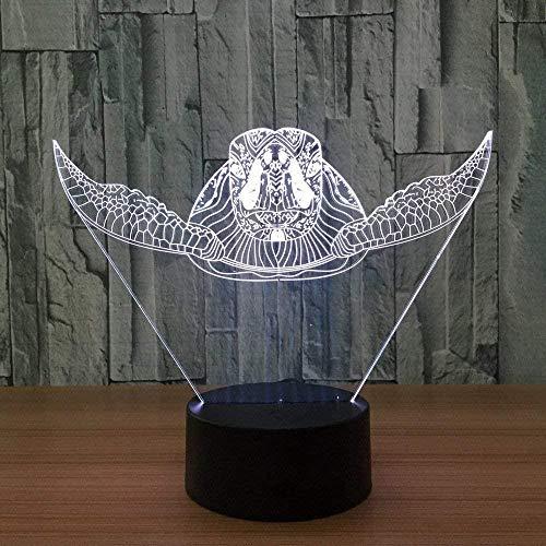 Luz de noche de ilusión 3D creativa 16 colores con fuente de luz LED de control remoto gran regalo para niños - tortuga