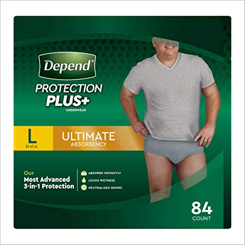 Depend Protection Plus Ultimate Max Absorbency 3-in-1 SureFit Flexible Underwear for Men: Large (35