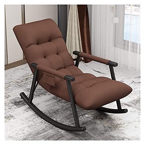 KUYH Silla mecedora para sala de estar, silla mecedora de jardín, material de algodón y lino, cómoda y duradera, silla de sofá perezosa (color: marrón)