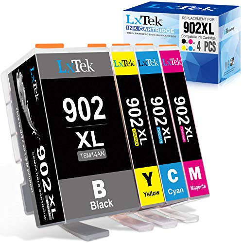 LxTek Compatible Ink Cartridge Replacement for HP 902XL 902 XL to use with Officejet Pro 6978 6968 6962 6958 6954 6960 Printers (1 Black, 1 Cyan, 1 Magenta, 1 Yellow, 4 Pack)