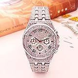 Reloj para hombre de las mejores marcas Reloj helado Reloj dorado con diamantes para hombre Reloj de pulsera impermeable de cuarzo cuadrado Relogio Masculino Hyococ (Color: Plata)