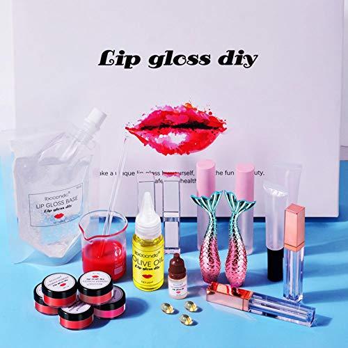 DIY Lipgloss Making Kit, Matt/Feuchtigkeitsspendend Klarer Lipgloss Antihaft-DIY-Lippenstift, Natürlicher Handgefertigter Flüssiger Lippenstift Zum Auffrischen Lippenbalsam-Geschenkset