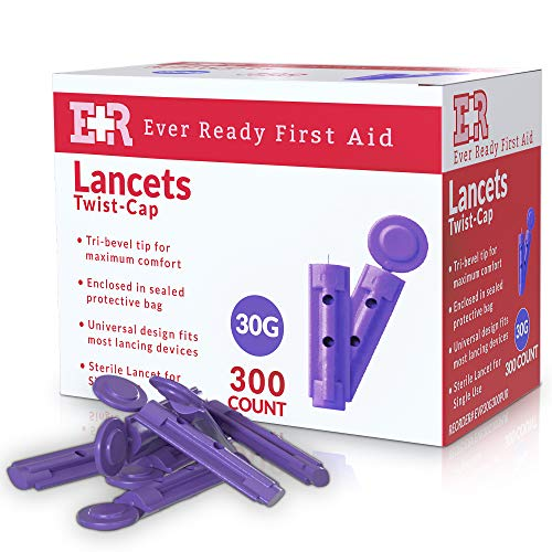 Ever Ready First Aid Sterile Twist-Cap Lancets 30G Purple - 300 Count