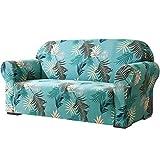 Subrtex - Funda elástica para sofá de 2 Asientos con Estampado de Hojas, Lavable, Protector de Muebles, Fundas elásticas para sofá para niños y Perros (loveseat, Verde)