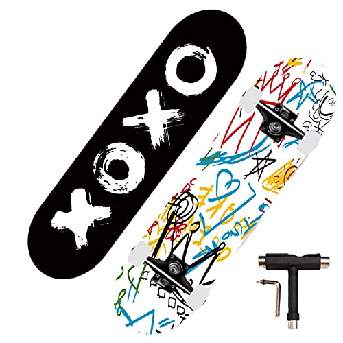 Swing around Ahorn Skateboard Erwachsene Sieben-Schicht-Ahorn-Highwheel-Vierräder-Tiefdruck-Doppel-Neigung Skateboard Erwachsene Anfänger Kinder Skateboard,Graffiti,80cm/39in