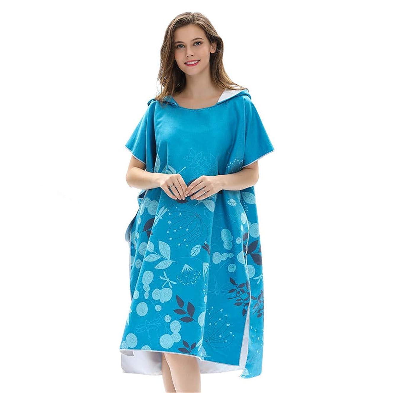 JIANGXIUQIN Beach Poncho Towel Changing Robes Surfing Poncho Towel with Hood Cartoon Print Changing Bathrobe Blue Surfing Swimming Robe