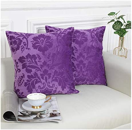 Tyfitb Decorative Embroidered Throw Pillow Covers Set of 2 Jacquard Floral Pattern Velvet Cushion product image