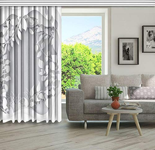 QAQV Hierba del Bosque con Ramas de árboles Hojas con Papel de Corte Natural Papel Origami Impreso Cortina Gris Blanca 1m * 1.2m