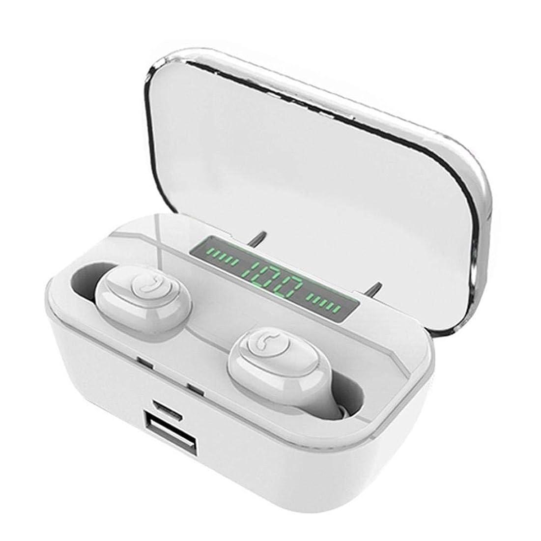 汚す香り表面的なBluetoothヘッドフォン、Bluetooth V5.0 IPX7防水インイヤーステレオ自動ペアリングキャンセリングノイズ、3500mah充電ボックス(1.5 2.5 1.8cm)