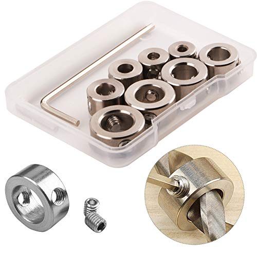 CESFONJER 8 tlg Tiefenanschlagringe Set Stellungsregler Ring Positionierer HSS-Locator Tiefenbegrenzer Tiefenstop Dübeln 3-10mm