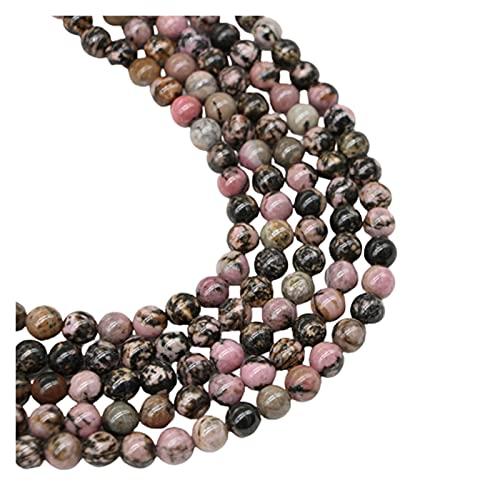 Multifunción 1strand / lot 4 6 8 10 12 mm Piedra Natural de Piedra Negro Rhodonite Beads Flow Spacer Bead para la joyería Hacienda DIY Pulsera Collar para manualidades de bricolaje joyería