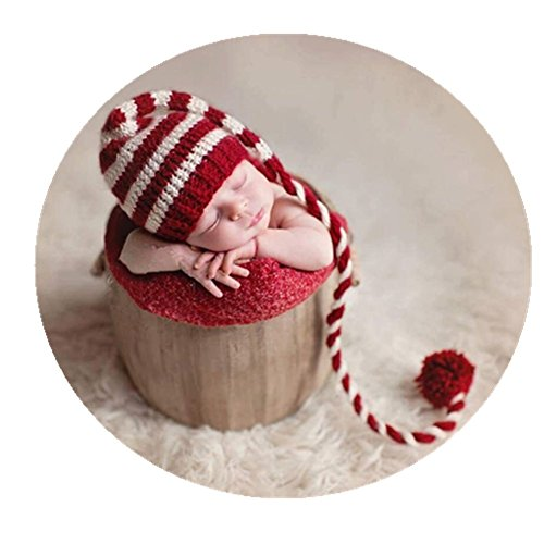 Coberllus Newborn Baby Photo Props Outfits Crochet Christmas Long Tail Hat for Girls Photography Shoot