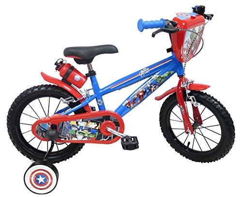 Bicicleta de 14 Pulgadas para niño con Licencia de Avengers – 2 Frenos con portabidón + bidón Trasero