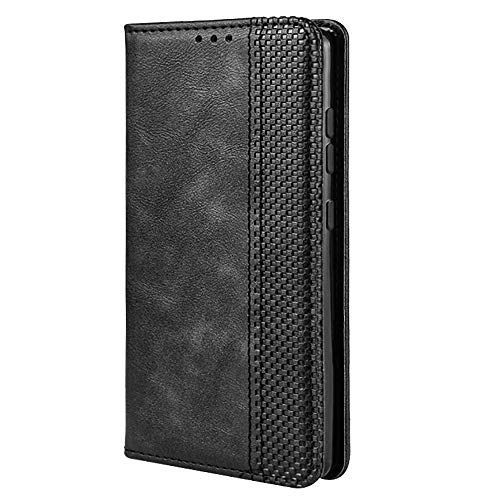 TANYO Leder Folio Hülle für LG K52, Premium Flip Wallet Tasche mit Kartensteckplätzen, PU/TPU Lederhülle Handyhülle Schutzhülle - Schwarz