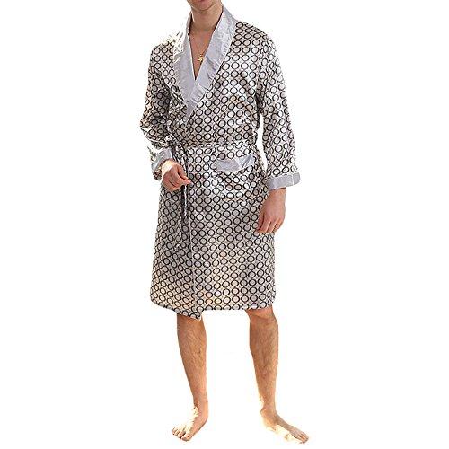 MAGE MALE Men's Summer Luxurious Kimono Soft Satin Robe with Shorts Nightgown Long-Sleeve Pajamas Printed Bathrobes Silver Grey