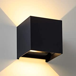 LANFU LED Aluminum Waterproof Wall Lamp, Waterproof Outdoor Light 20W 100-277V 3000K Adjustable Outdoor Wall Light Warm Light 2LEDS (Black-20W, Outdoor-Larger Version)