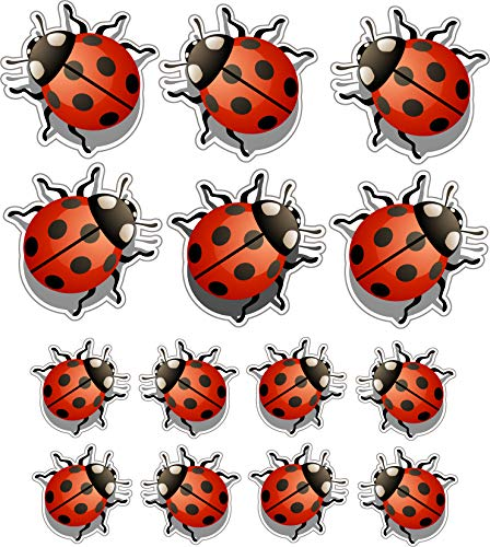 14 Pack (6-1,5'/8-1') Set Little Lady Bug - Car, Laptop Decal, Window, Car Bodies,Motorcycles Helmets Boats, Mailboxes, Laptops, Skateboard, Guitars, Trailers