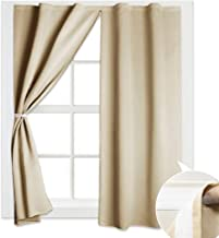 RYB HOME Portable Blackout Blinds Curtain Set Draped Self-Adhesive Window Treatment Drapes Sticky - Zip | L63 | Panel Beige USRYBLKZIP-5263B14