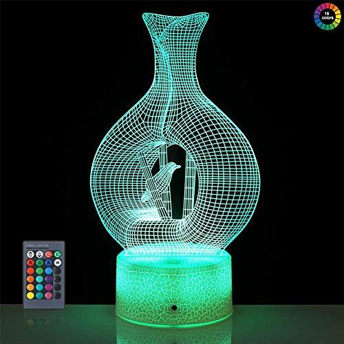 Luz nocturna 3D con diseño de pájaro enjaulado, lámpara de ilusión LED 3D, 16 colores de control táctil, lámpara visual 3D para decoración del hogar, Navidad, regalos de cumpleaños
