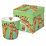 Paperproducts Design 603310 Mug in A Gift Box, 1 Count (Pack of 1), Giraffe Amigos