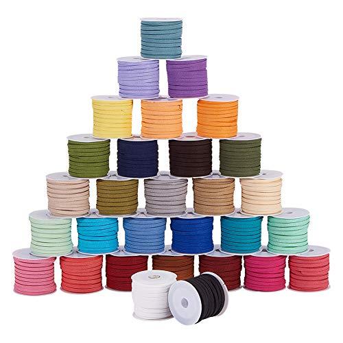PandaHall - Cuerda de gamuza sintética, 30 colores de 5,4 yardas/rollo de 4 mm, cuerda de cuerda, cuerda de cuerda, para pulseras, collares, joyas, atrapasueños, manualidades, 30 rollos/set
