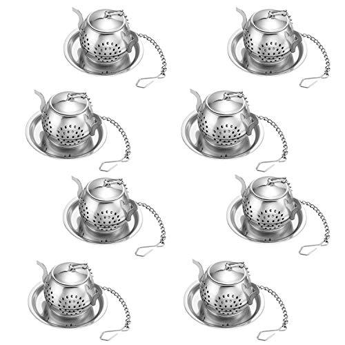 Set di 8 Infusore per tè con Vassoio, RETON Loose Tea Steeper–Best Tea Filtro per tè Filtro Sciolto Steeper