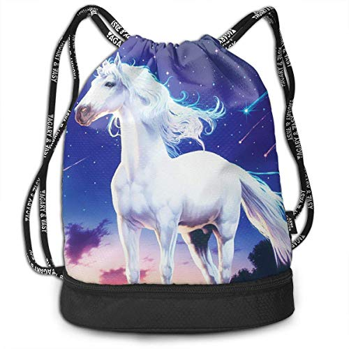 Rucksäcke,Sporttaschen,Turnbeutel,Daypacks, Gym Drawstring Sports Bag Simple Quick Dry Bundle Backpack Pegasus