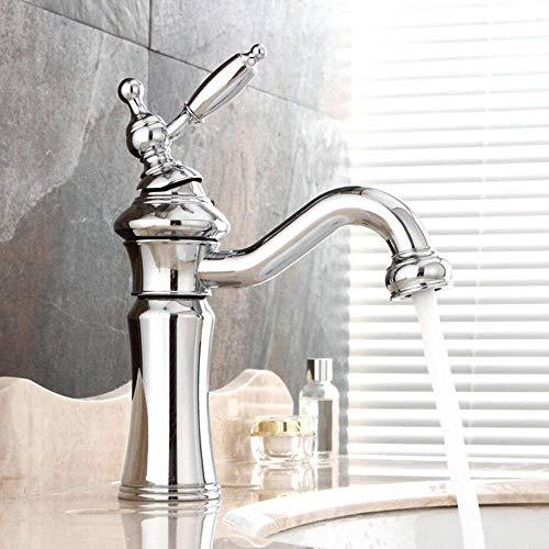 YLLN Grifo Monomando para Lavabo Retro Nostalgic 360 & deg;Grifo de baño Giratorio Grifo Mezclador de una Sola Palanca Grifo Mezclador de baño para baño Hecho de latón