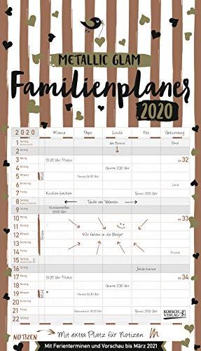 Familienplaner Metallic Glam 2020: Familienkalender, 5 breite Spalten, echter Metallic Glanz. Mit Ferienterminen, Vorschau bis März 2021 und vielem mehr.
