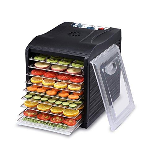 HENDI Dörrautomat, Dehydrator, Dörrgerät, BPA frei, 9 Blechen, für Lebensmittel, Obst- Fleisch- Früchte-, Gemüse-, Fisch-, Kräutern Trockener, 230v, 700W, 345x450x(H)415mm, Edelstahl